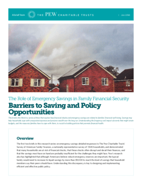The Role of Emergency Savings in Family Financial Security: Barriers to Saving and Policy Opportunities