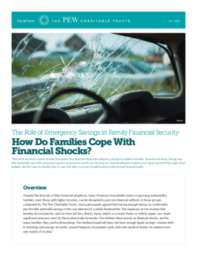 The Role of Emergency Savings in Family Financial Security: How Do Families Cope with Financial Shocks?