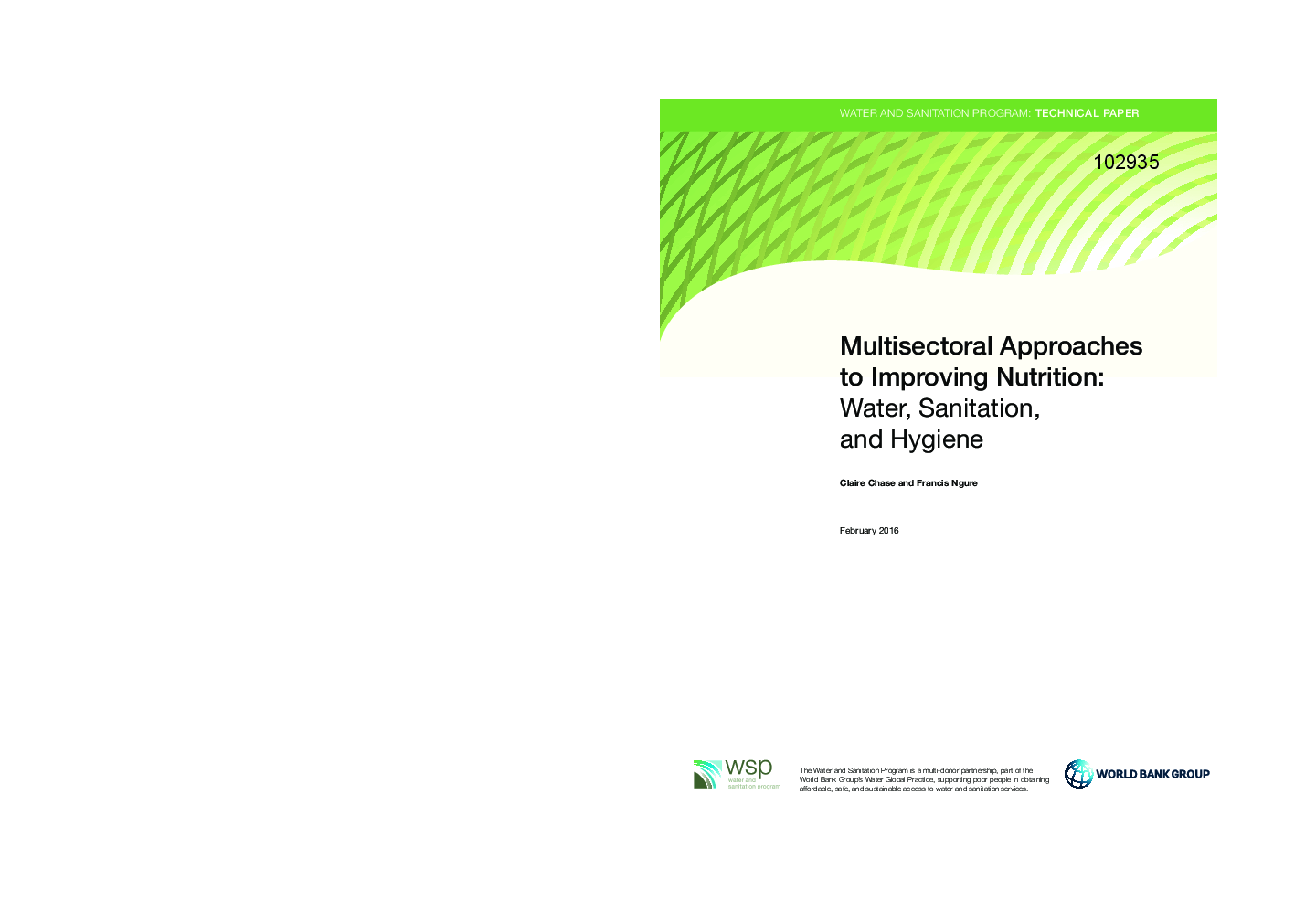 Multisectoral Approaches to Improving Nutrition: Water, Sanitation, and Hygiene