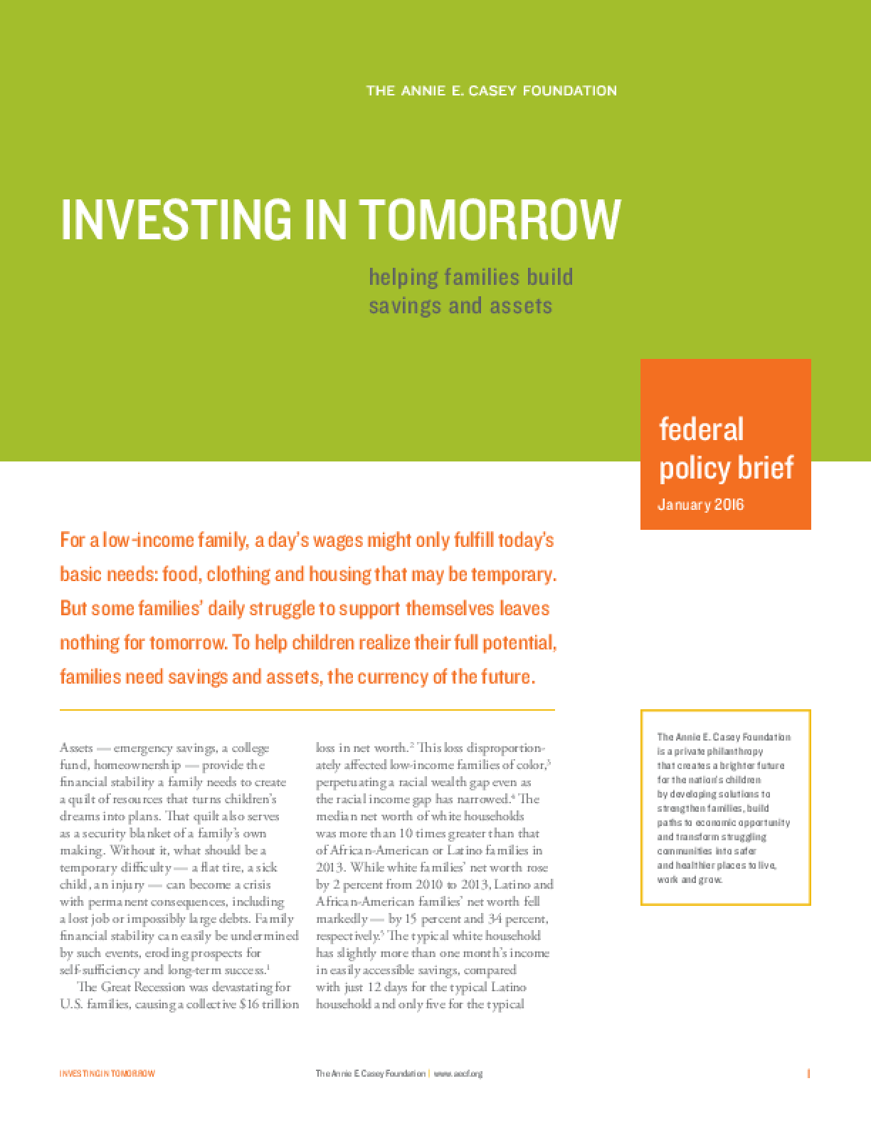 Investing in Tomorrow: Helping Families Build Savings and Assets