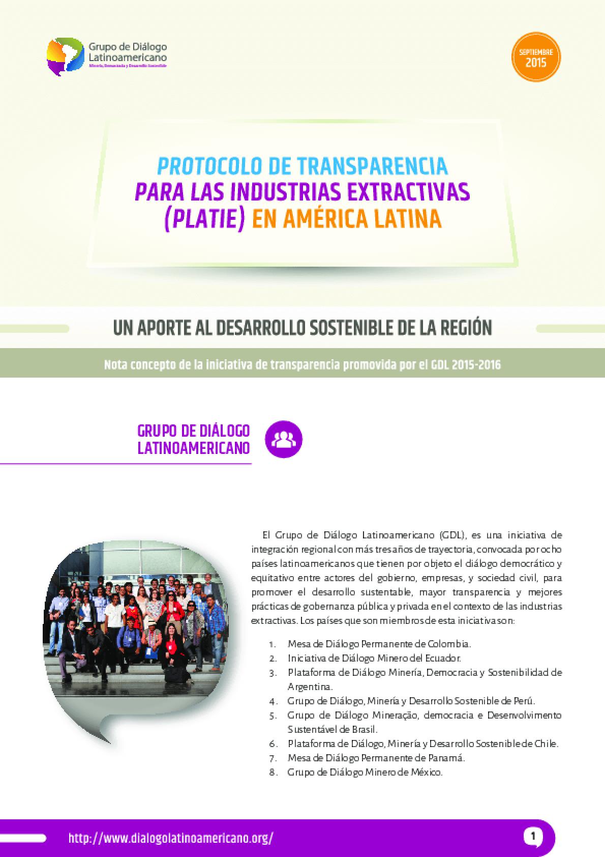 Nota concepto: Protocolo Latinoamericano de Transparencia en las Industrias Extractivas (PLATIE)