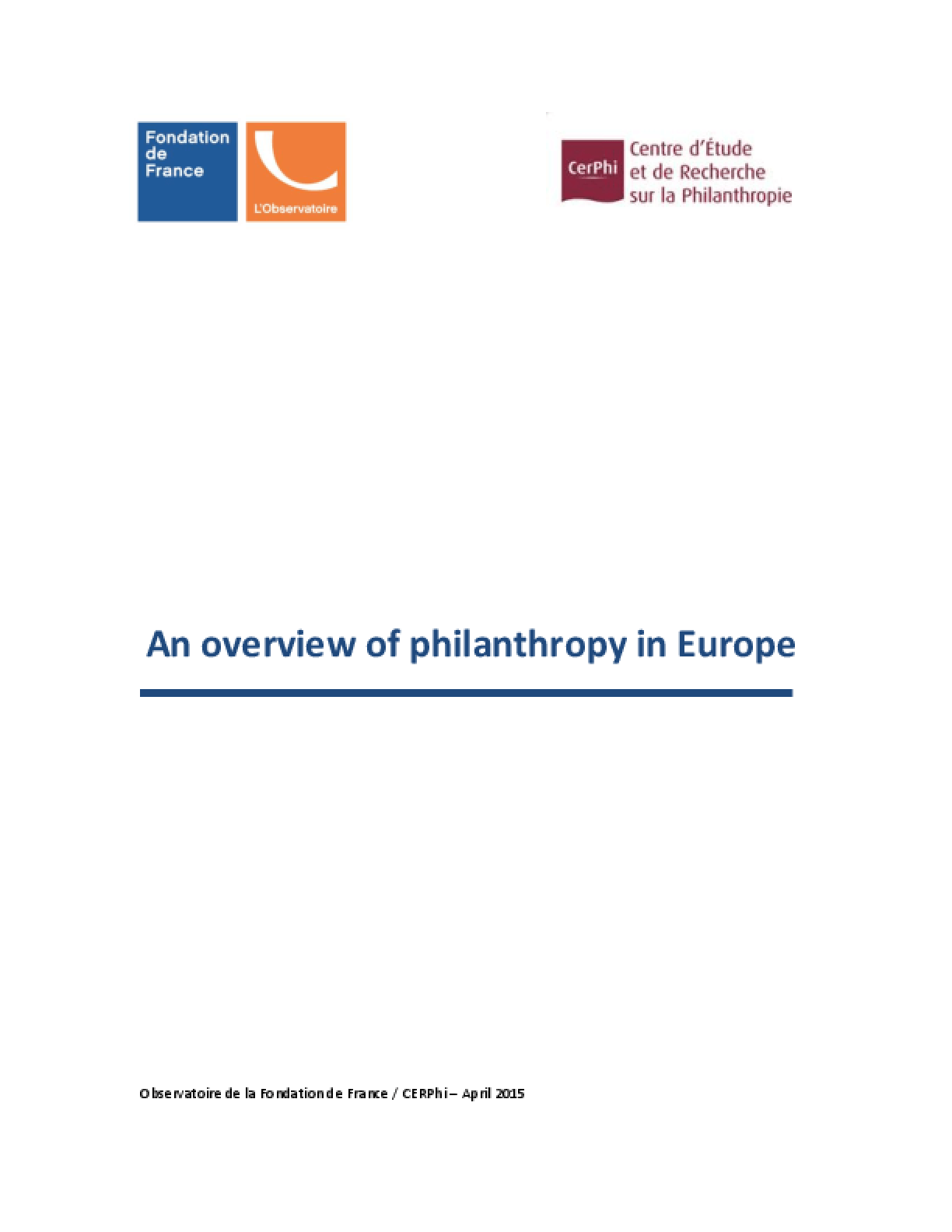 An Overview of Philanthropy in Europe