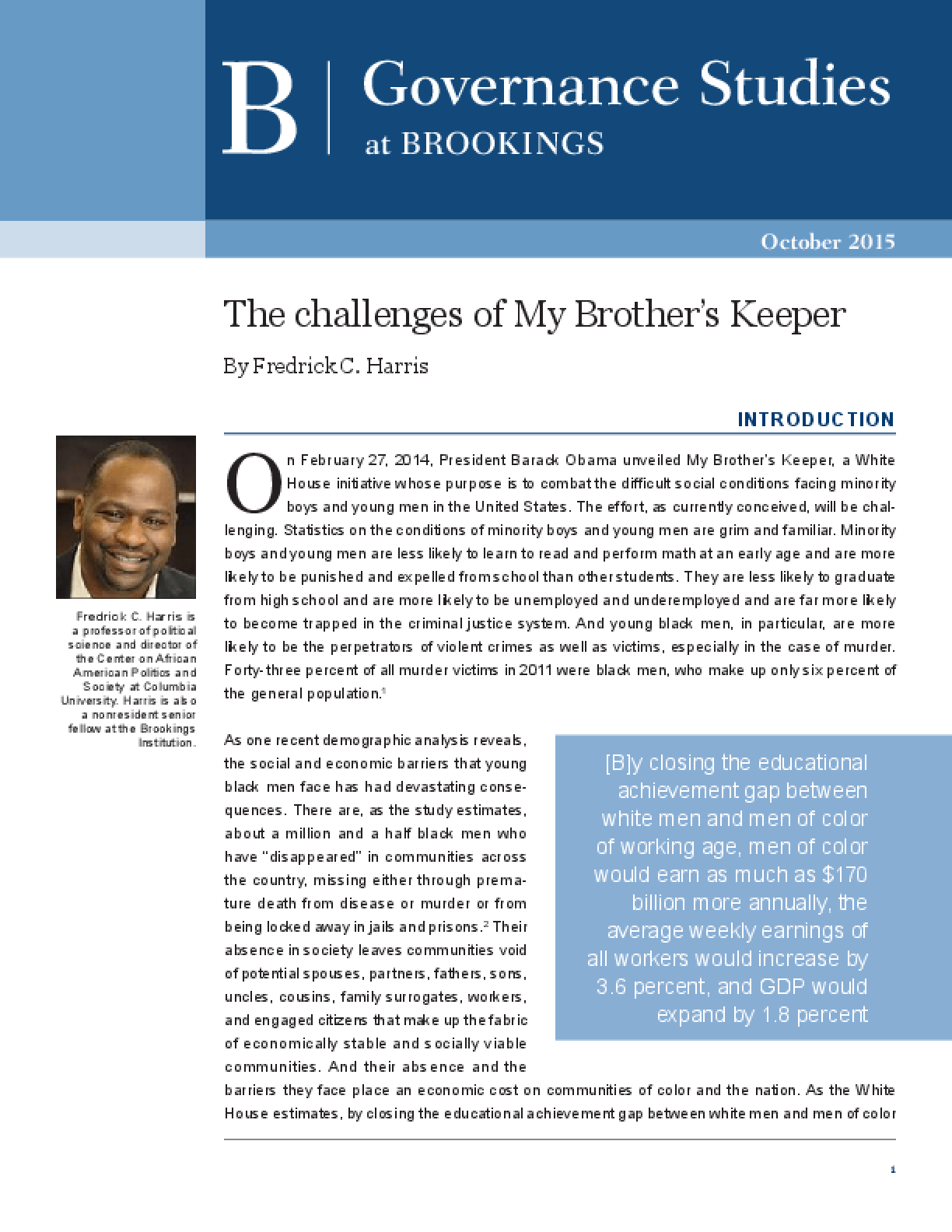The Challenges of My Brother's Keeper