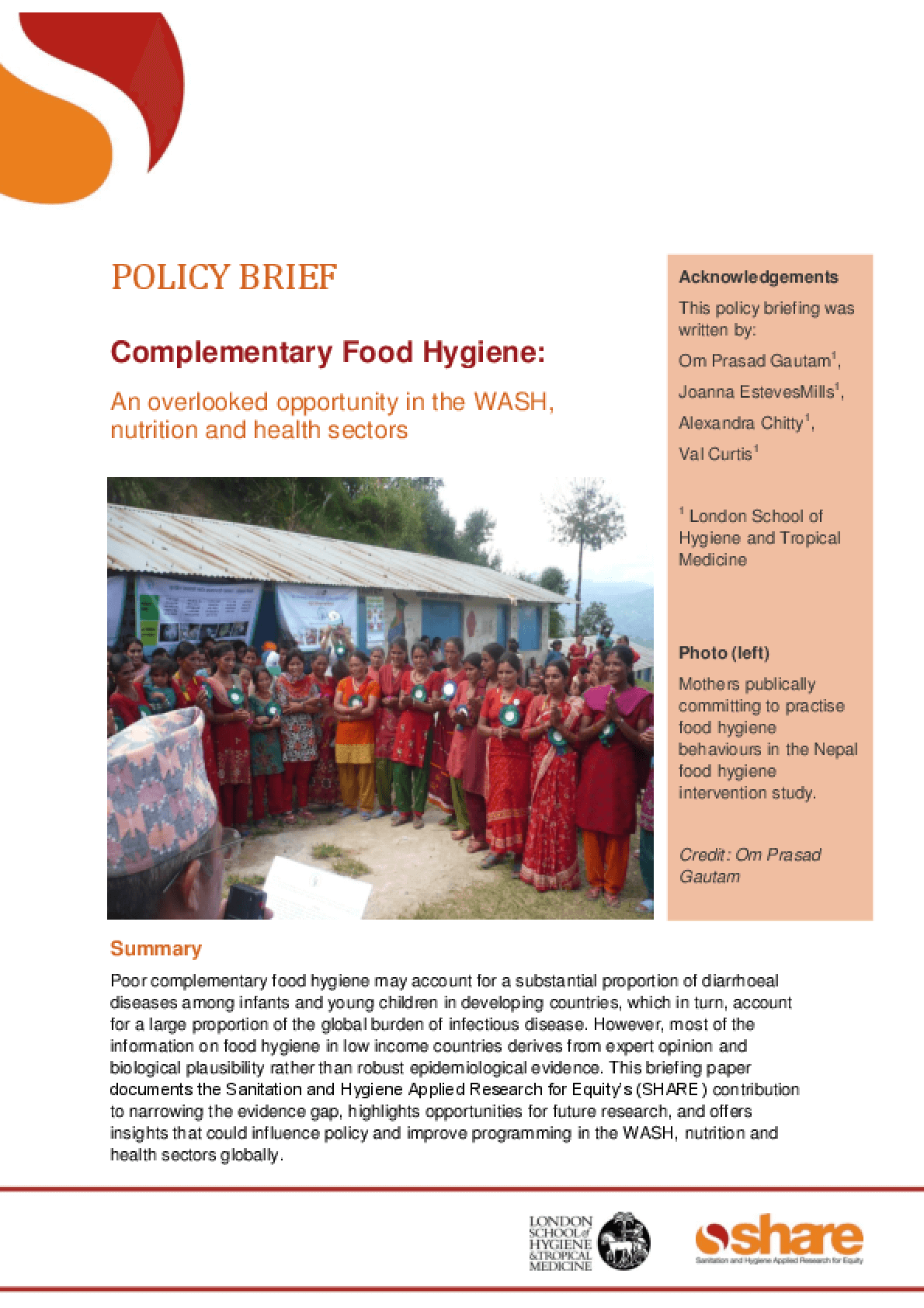 Complementary Food Hygiene: An Overlooked Opportunity in the WASH, Nutrition and Health Sectors