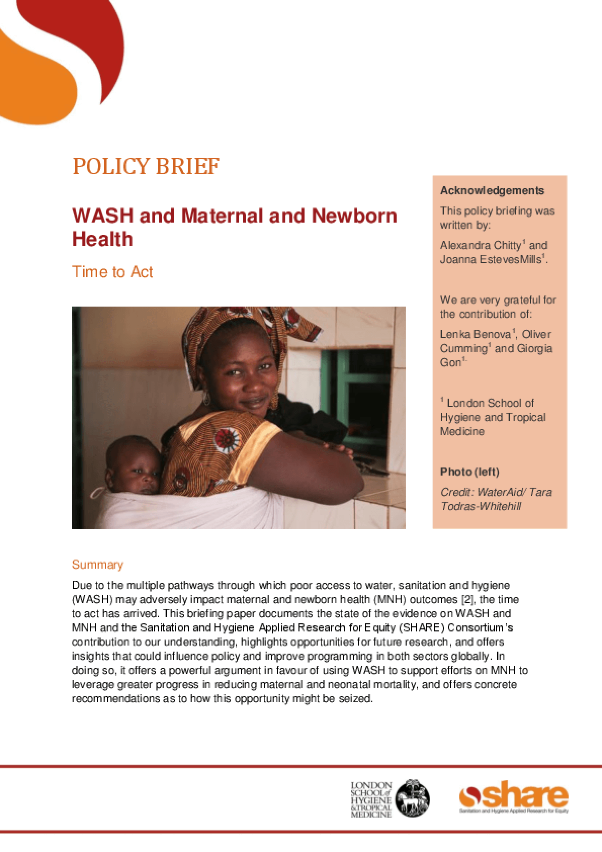 WASH and Maternal and Newborn Health: Time to Act