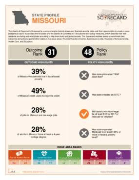 State Profile Missouri: Assets and Opportunity Scorecard