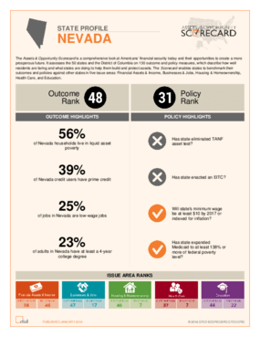 State Profile Nevada: Assets and Opportunity Scorecard