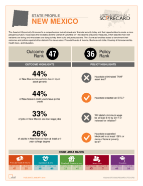 State Profile New Mexico: Assets and Opportunity Scorecard