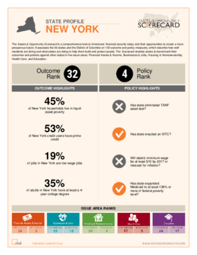 State Profile New York: Assets and Opportunity Scorecard