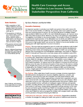 Health Care Coverage and Access for Children in Low-Income Families: Stakeholder Perspectives from California