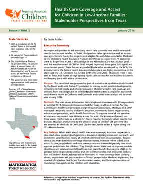 Health Care Coverage and Access for Children in Low-Income Families: Stakeholder Perspectives from Texas