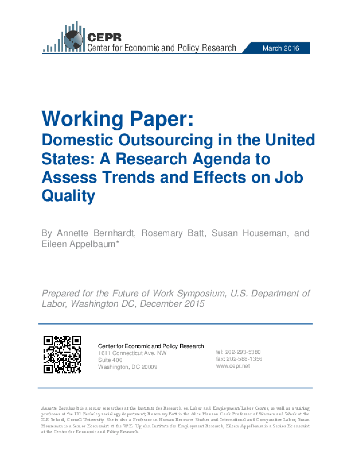 Domestic Outsourcing in the United States: A Research Agenda to Assess Trends and Effects on Job Quality