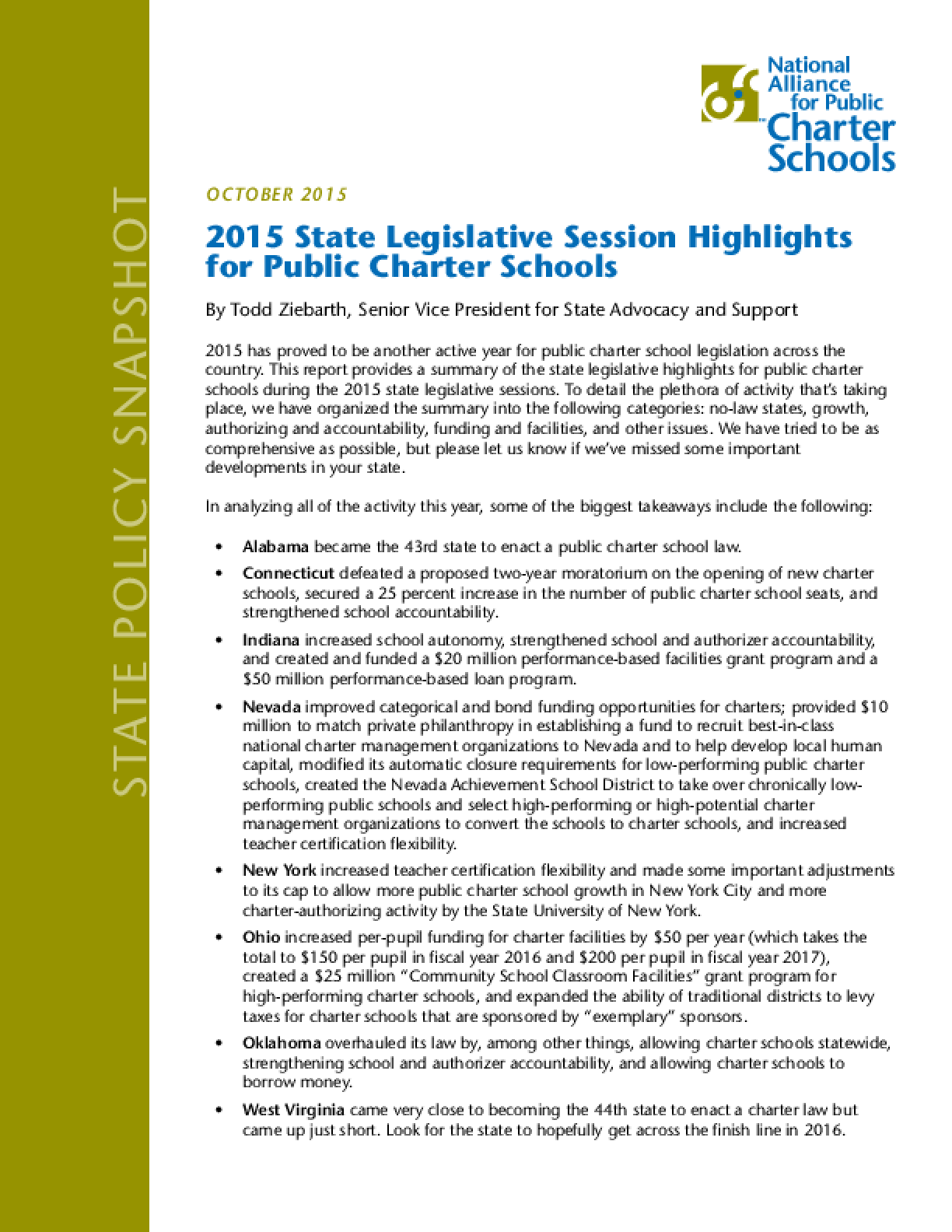 2015 State Legislative Session Highlights for Public Charter Schools
