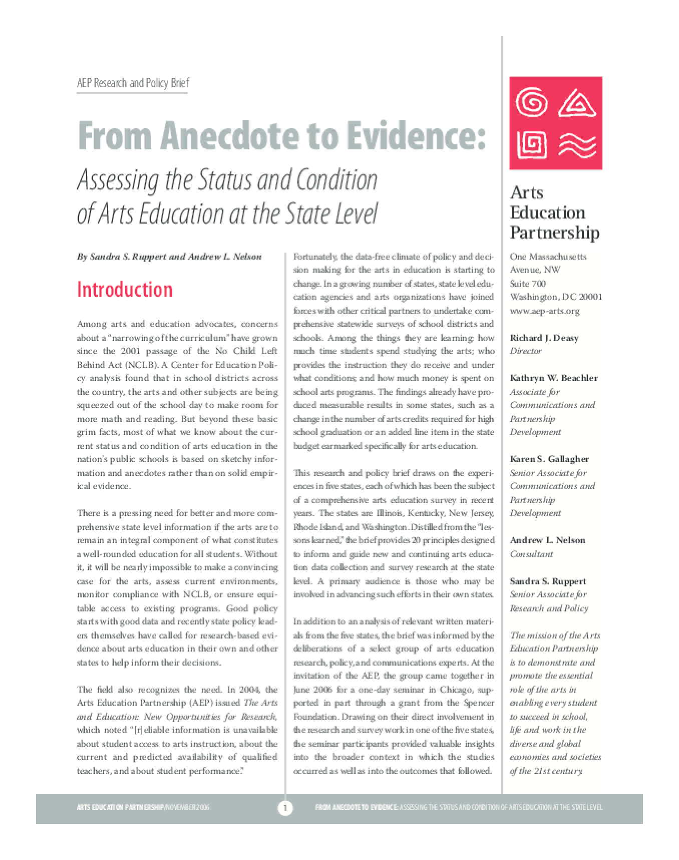 From Anecdote to Evidence: Assessing the Status and Condition of Arts Education at the State Level