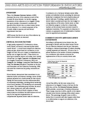 2004 Arts Education Performance Indicators Report