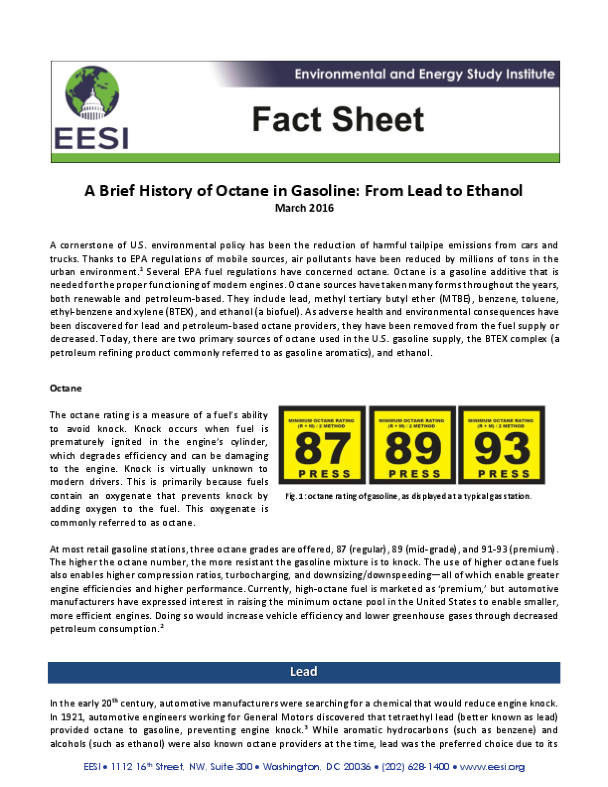 Fact Sheet: A Brief History of Octane in Gasoline, From Lead to Ethanol