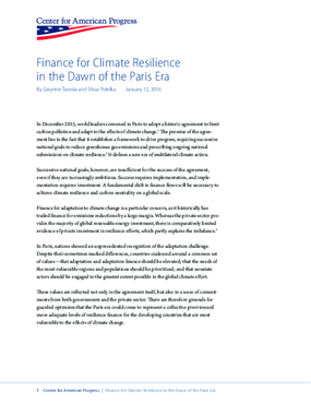 Finance for Climate Resilience in the Dawn of the Paris Era