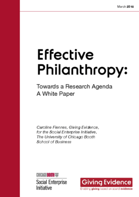 Effective Philanthropy: Towards a Research Agenda - A White Paper
