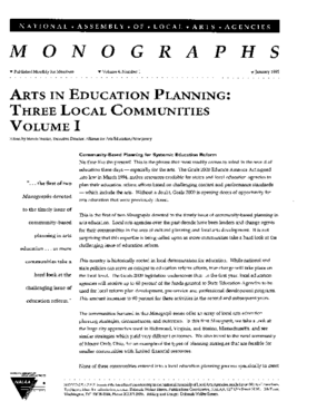 Arts in Education Planning: Three Local Communities; Volume I