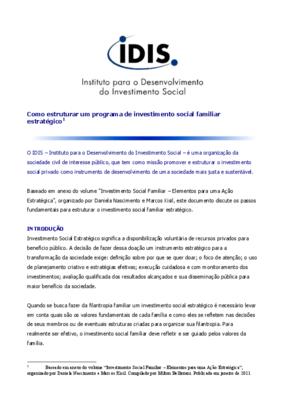 Nota técnica: como estruturar um programa de investimento social familiar estratégico