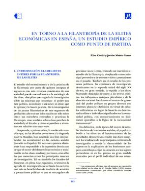 En Torno a La Filantropía de las Elites Económicas en España: un estudio empírico como punto de partida