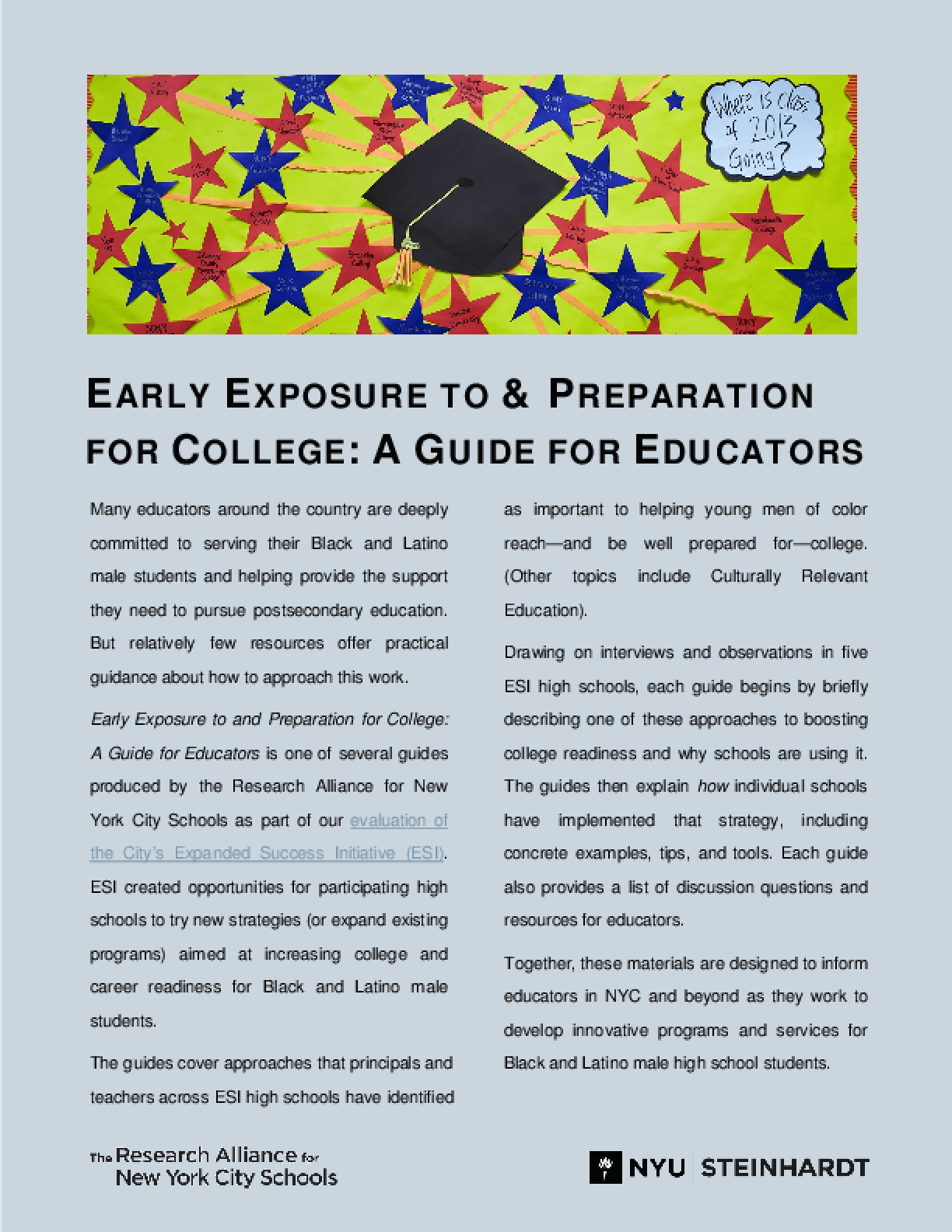 Early Exposure to and Preparation for College: A Guide for Educators