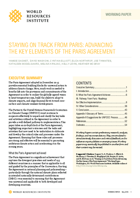 Staying on Track from Paris: Advancing the Key Elements of the Paris Agreement