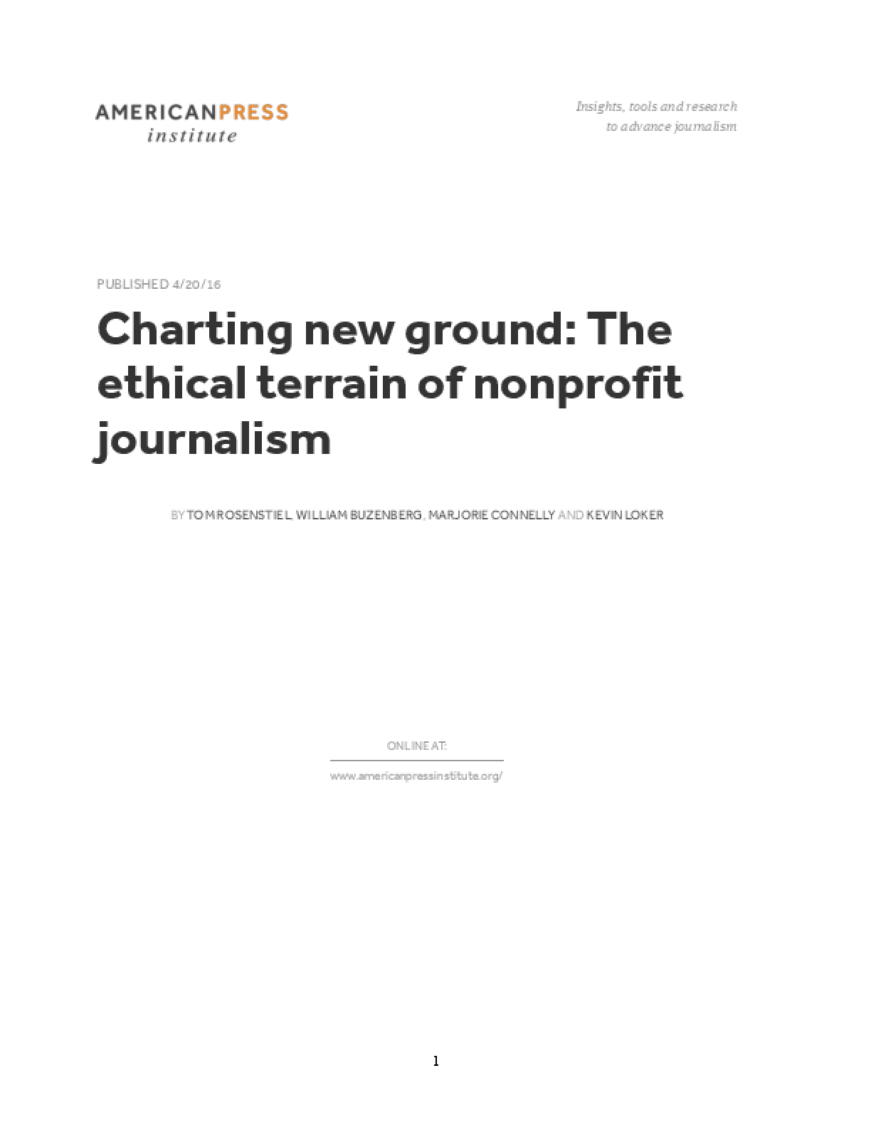 Charting New Ground: The Ethical Terrain of Nonprofit Journalism