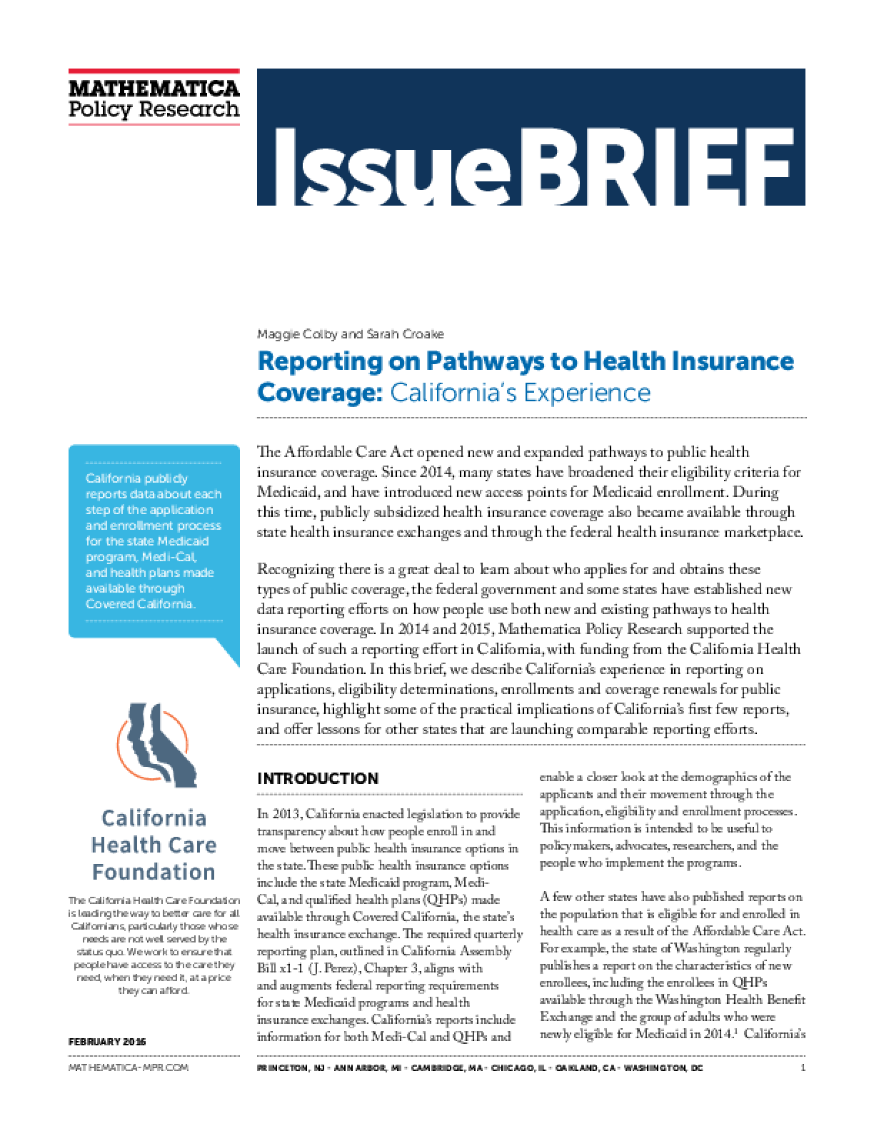 Reporting on Pathways to Health Insurance Coverage: California's Experience