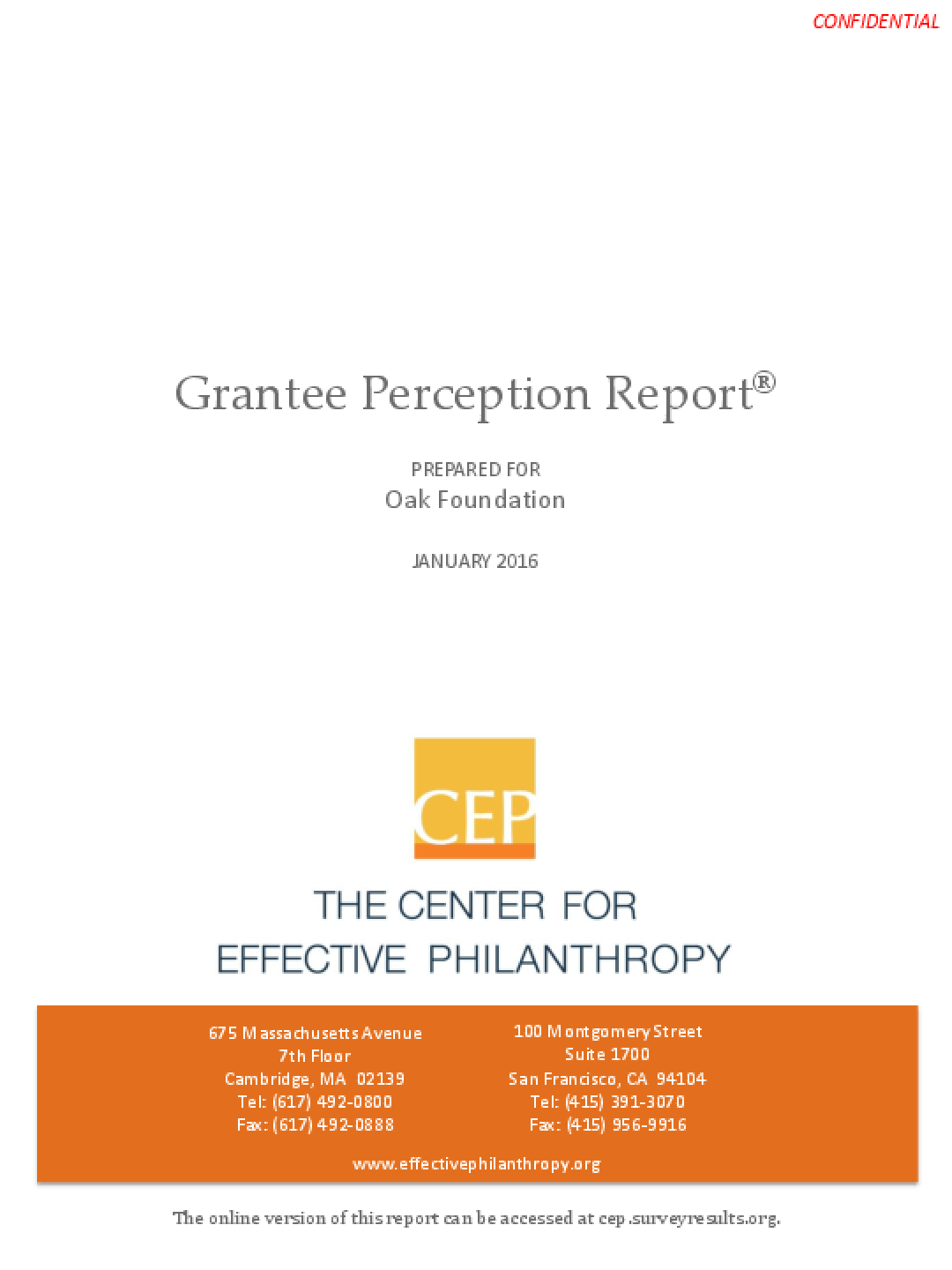 Grantee Perception Report January 2016