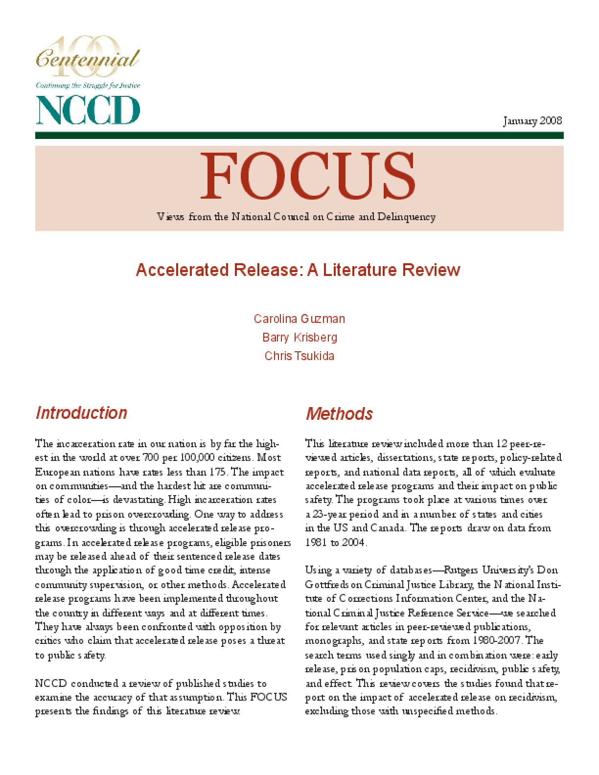 Accelerated Release: A Literature Review (FOCUS)