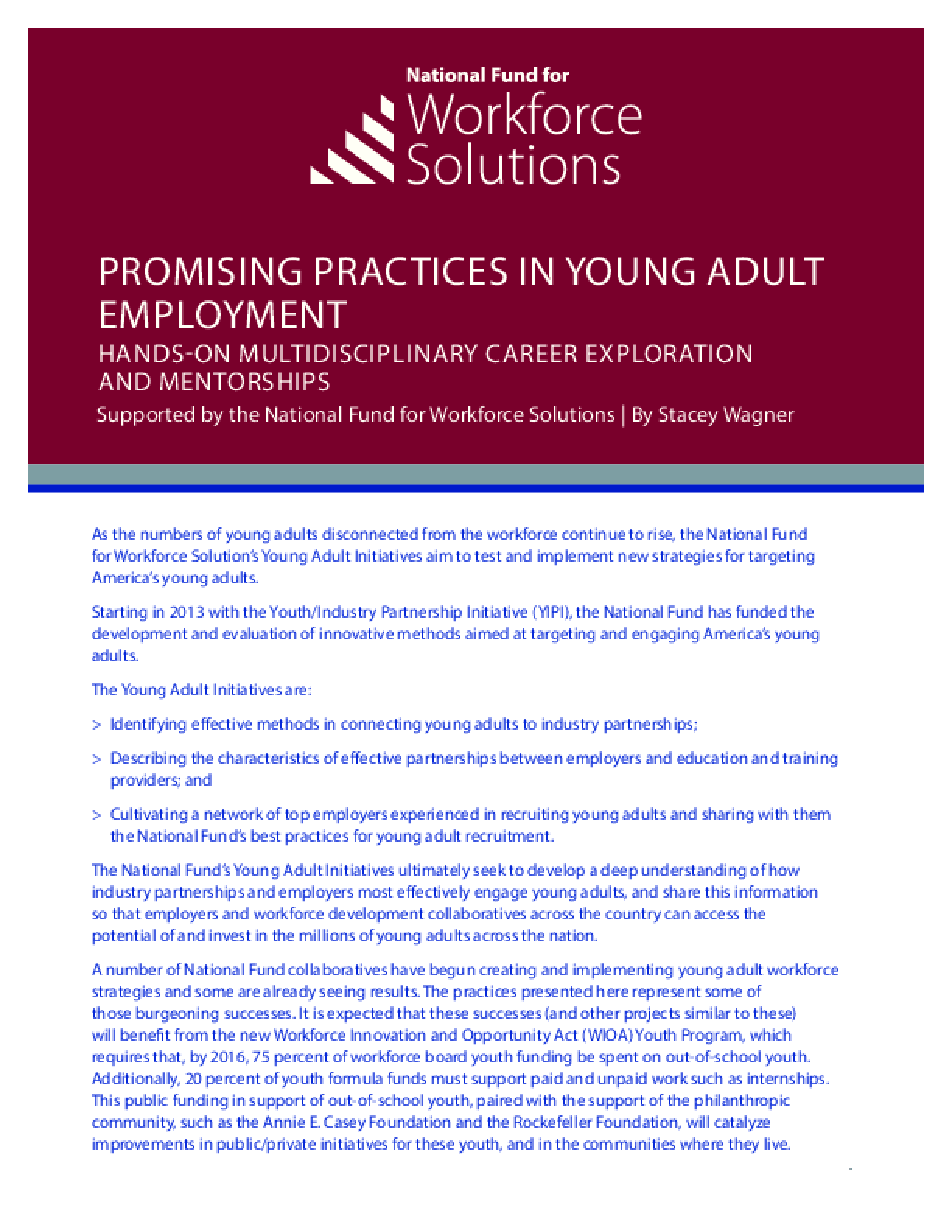 Promising Practices in Young Adult Employment: Hands-On Career Exploration