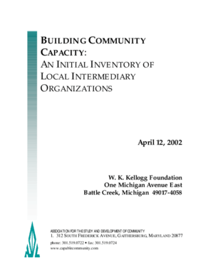 Building Community Capacity: An Initial Inventory of Local Intermediary Organizations