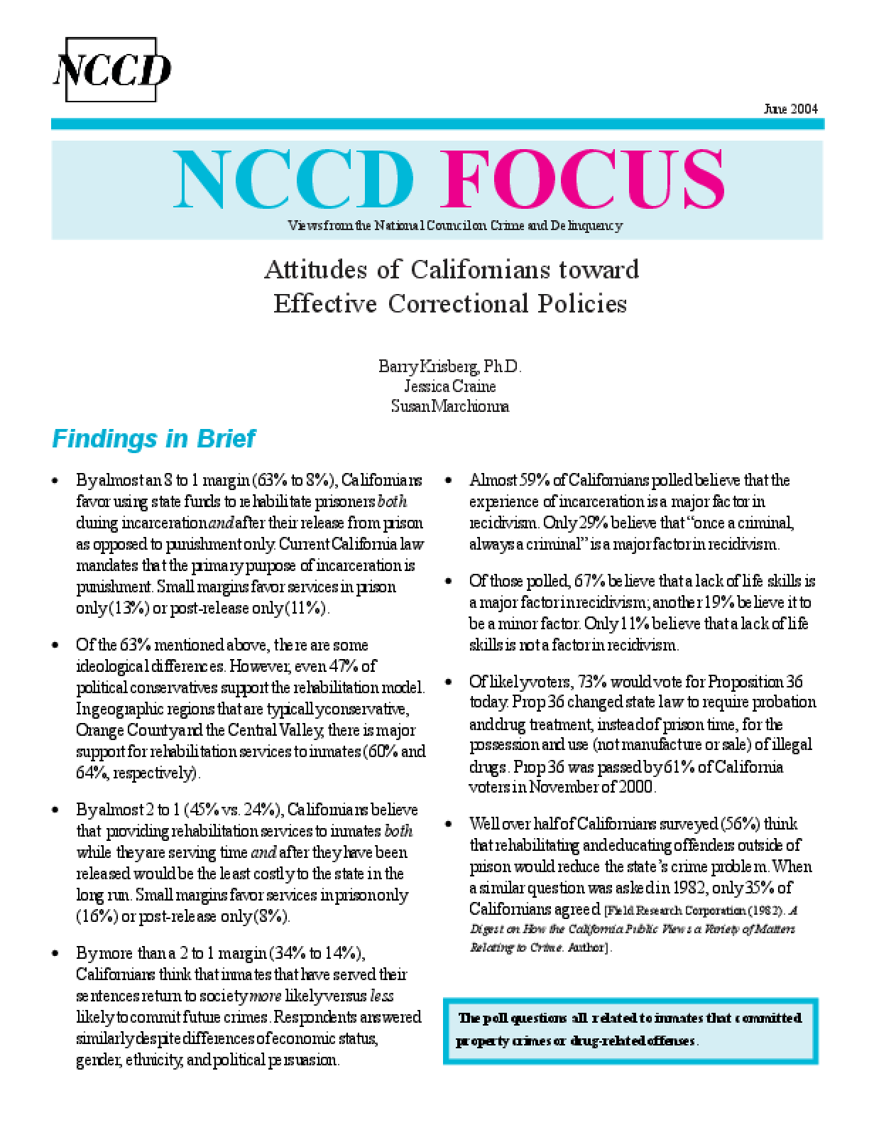Attitudes of Californians Toward Effective Correctional Policies (FOCUS)