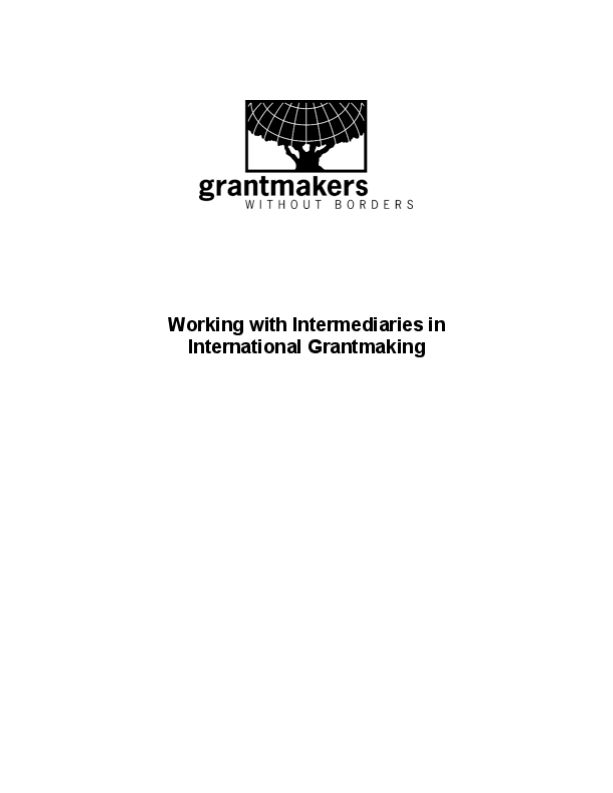 Working with Intermediaries in International Grantmaking
