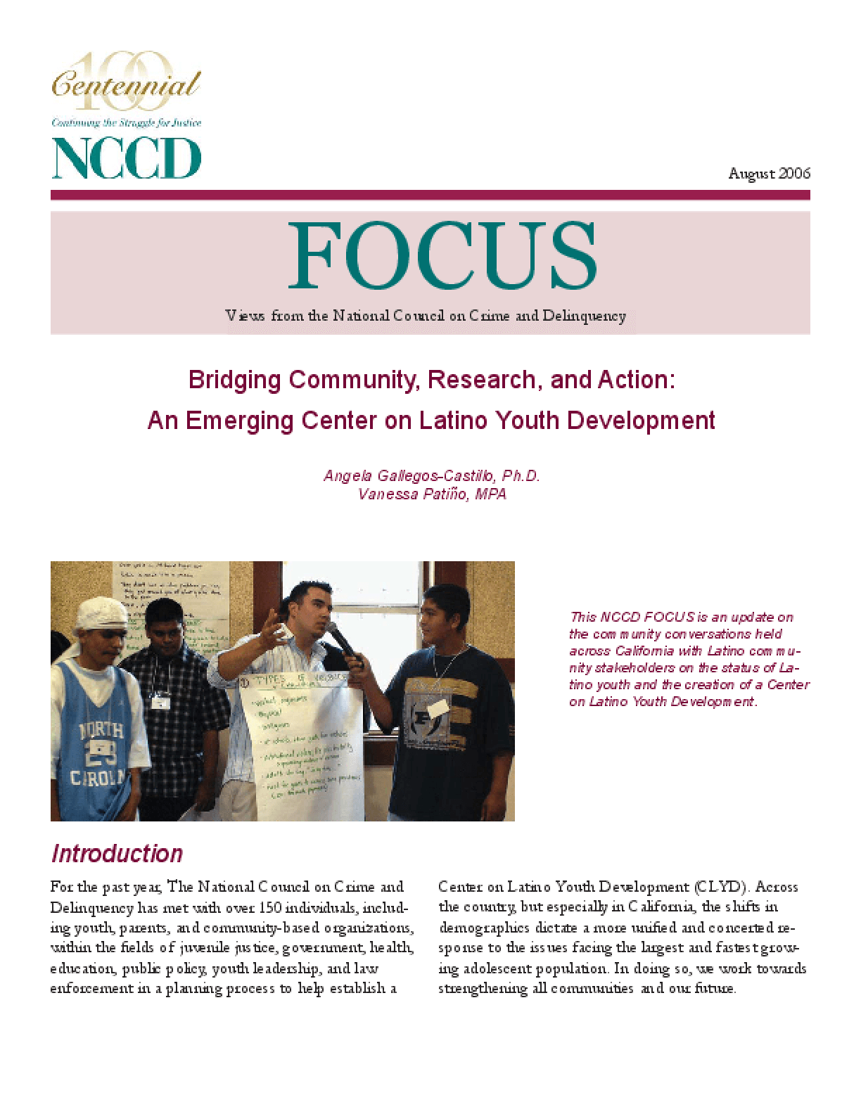 Bridging Community, Research, and Action: An Emerging Center on Latino Youth Development (FOCUS)