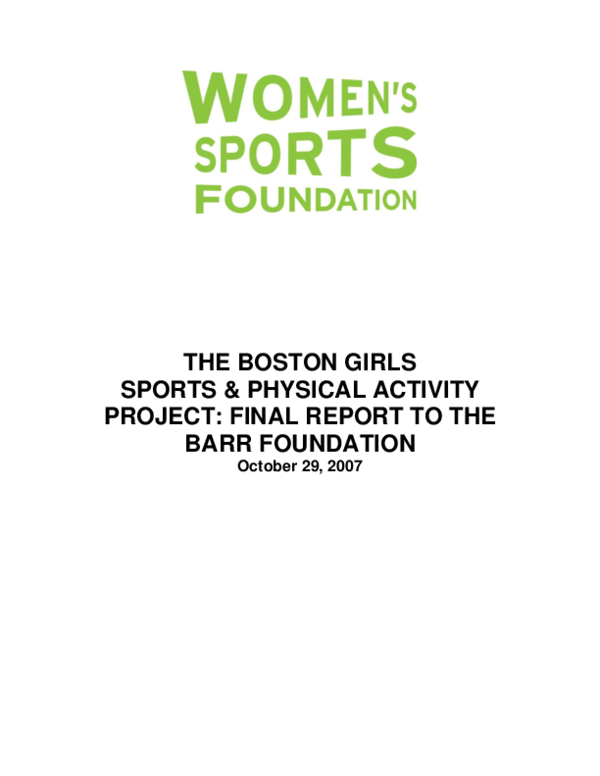 The Boston Girls Sports & Physical Activity Project: Final Report to the Barr Foundation