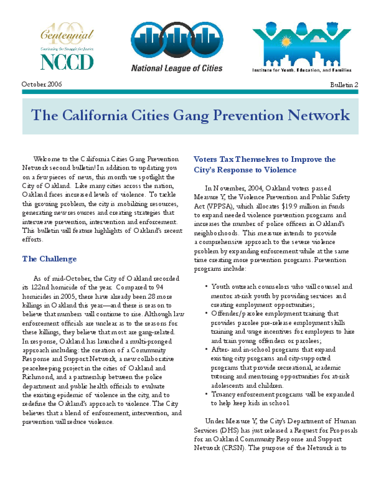 California Cities Gang Prevention Network Bulletin (Bulletin 2)