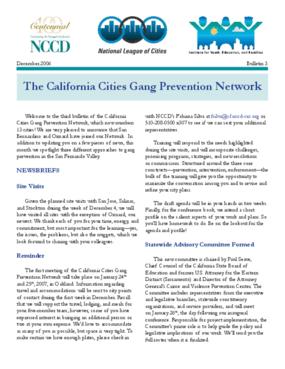 California Cities Gang Prevention Network Bulletin (Bulletin 3)