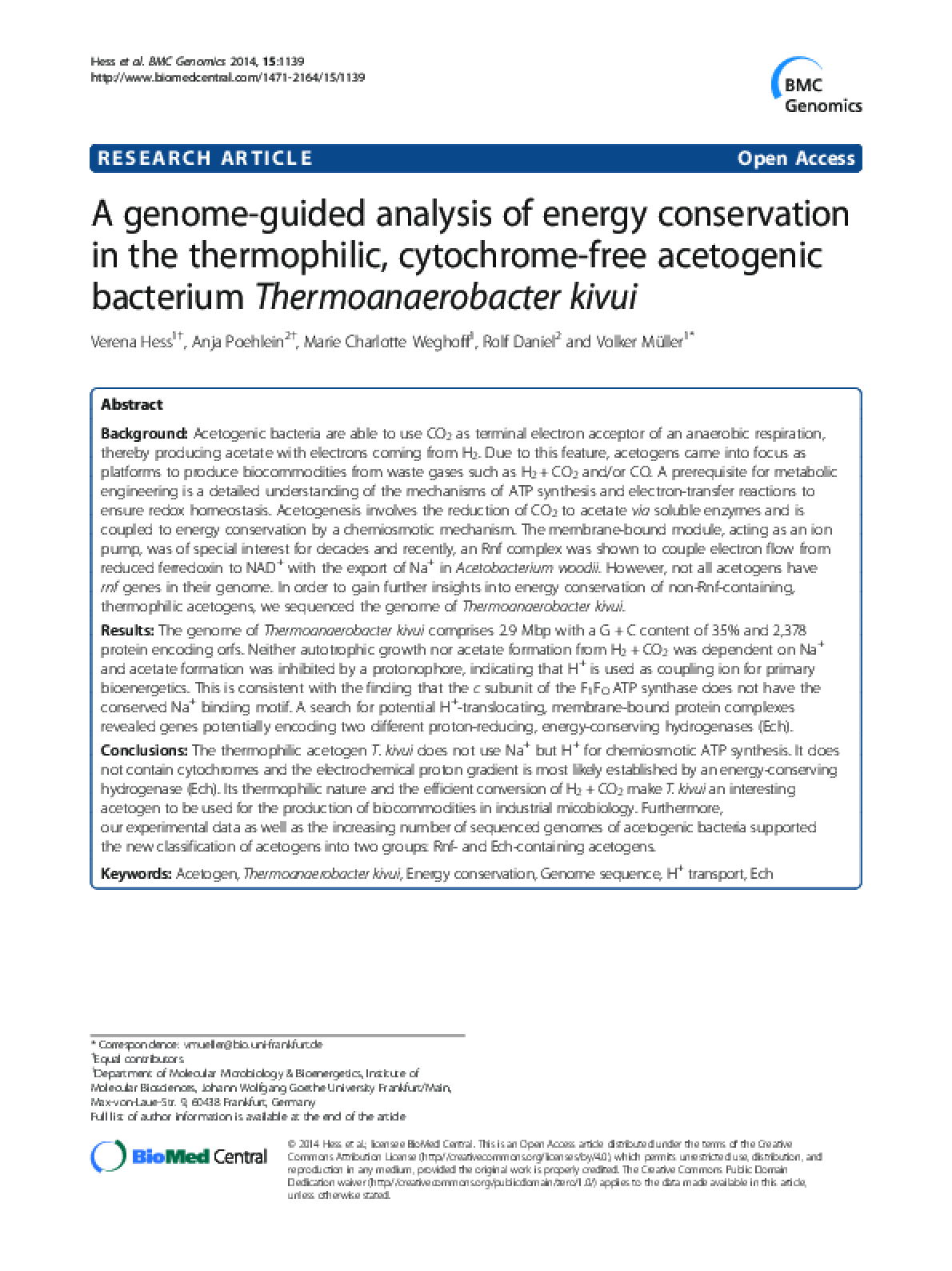 A genome-guided analysis of energy conservation in the thermophilic, cytochrome-free acetogenic bacterium Thermoanaerobacter kivui