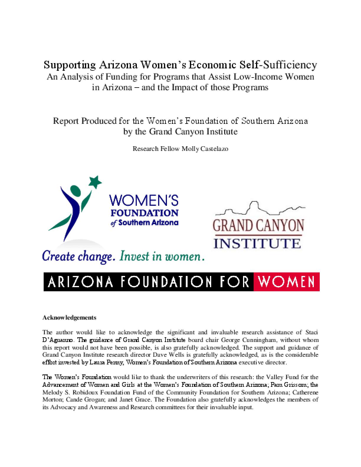 Supporting Arizona Women's Economic Self-Sufficiency