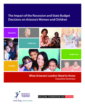 The Impact of the Recession and State Budget Decisions on Arizona's Women and Children 2015: What Arizona Needs to Know, Executive Summary