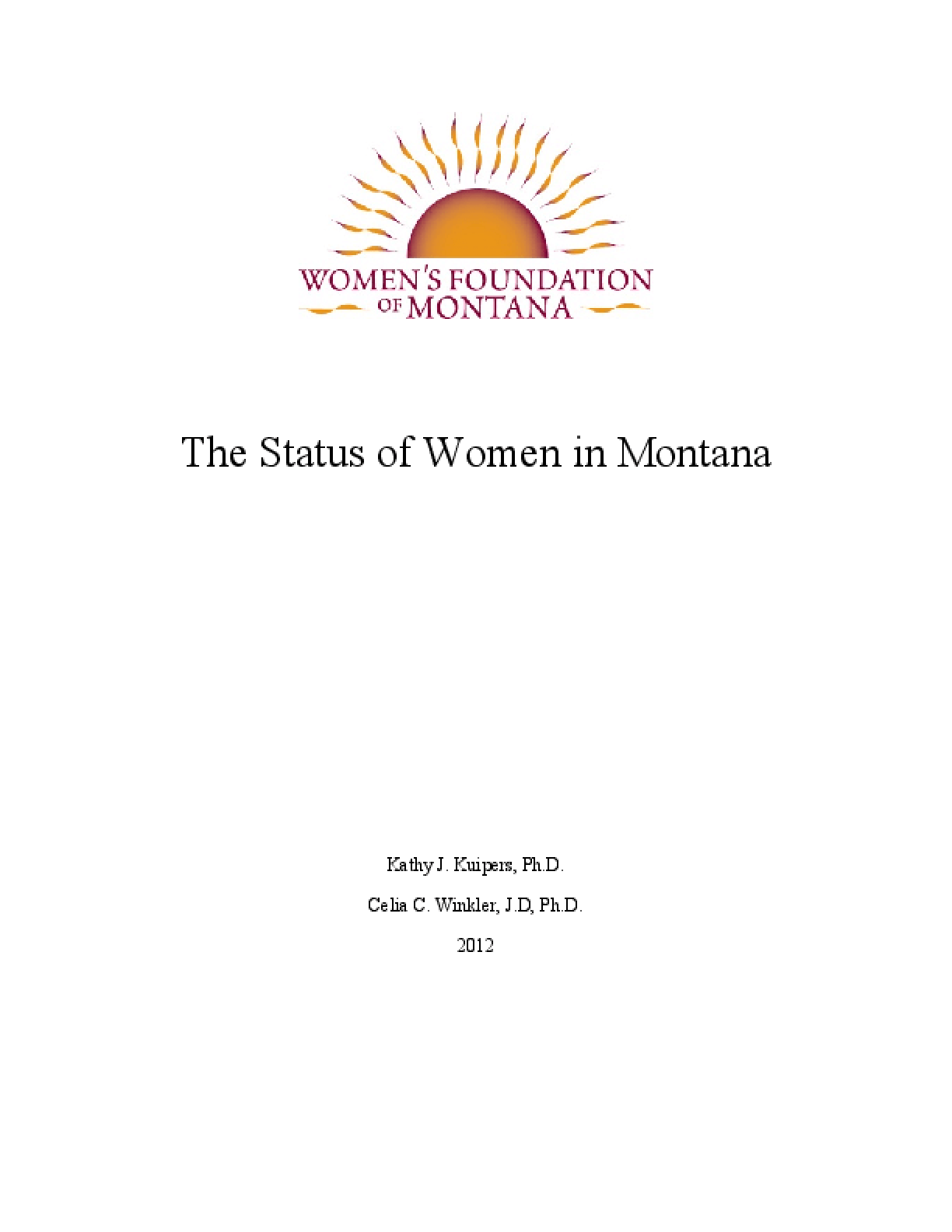 Status of Women in Montana Report 2012