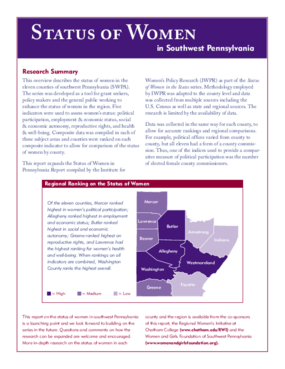 Status of Women in Southwest Pennsylvania