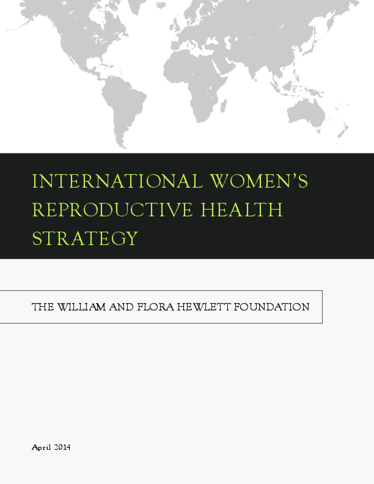 International Women's Reproductive Health Strategy