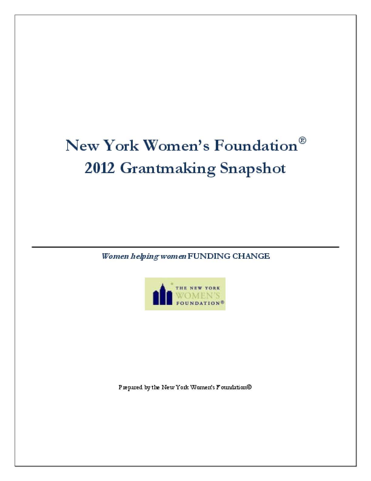 Grantmaking Snapshot 2012