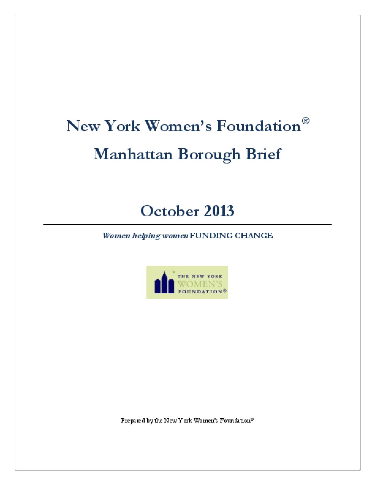 New York Women's Foundation Manhattan Borough Brief