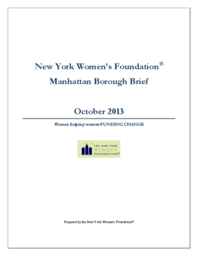 New York Women's Foundation Manhattan Borough Brief