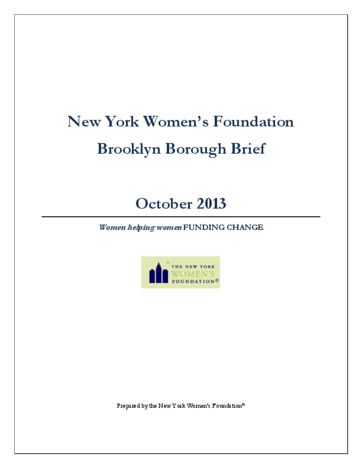 New York Women's Foundation Brooklyn Borough Brief