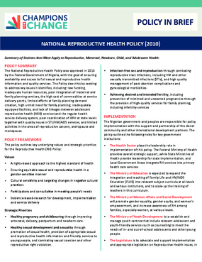 National Reproductive Health Policy